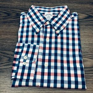 Brooks Brothers Blue, White & Red Gingham Shirt L